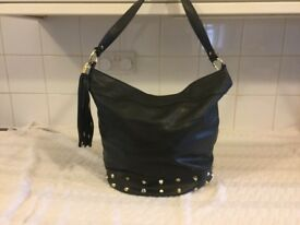 Soft black leather look handbag