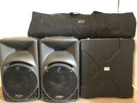 Complete PA system (Mackie 450s/Behringer mixer/stands/mics)