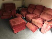 Harveys Recliner Sofa Set - Three Piece, Single and Pouffe
