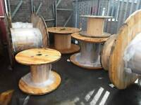 Cable drums ready for up cycle various sizes can deliver locally good solid wooden reels