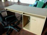 Light wood computer desk and chair