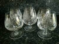 Set of 6 matching vintage crystal brandy goblets - can sell as pairs