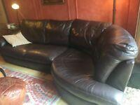 Ikea Brown leather corner sofa