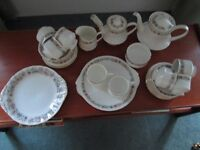 """Bone china, """"Belinda,"""" by Paragon, tea service including 2 tea pots and free bread plate"""