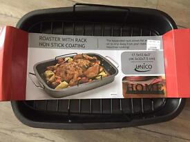Roasting pan with rack and non stick coating