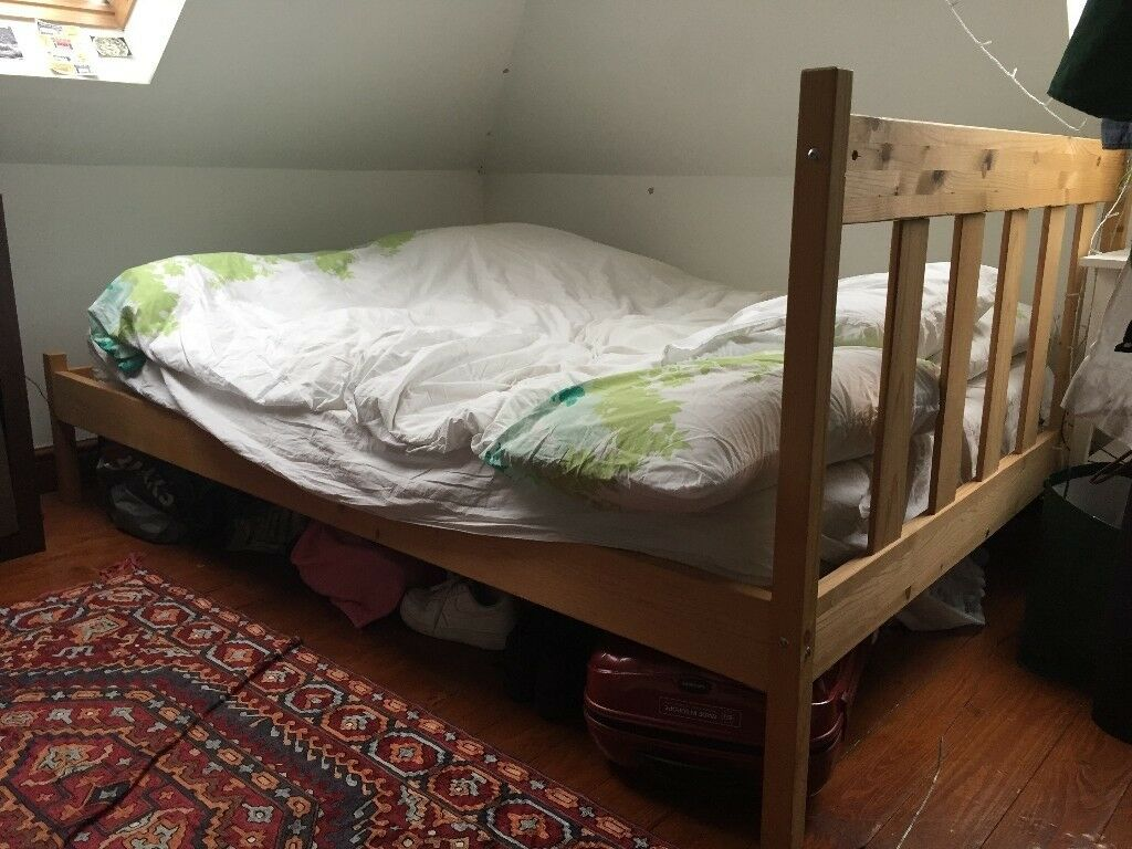 Double pine wood bed frame