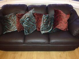 Brown leather 3 seater sofa, excellent condition, hardly used, including scatter cushions.