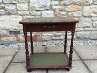 LEATHER WOOD OCCASIONAL LAMP BEDSIDE END TABLE ANTIQUE RETRO VINTAGE DRAWERS SHABBY CHIC