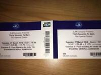 2x Thirty Seconds to Mars Tickets - London o2