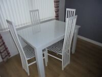 Harvey's White High Gloss & Glass Extending To Six Dining Table & Four Grey White Chairs £250