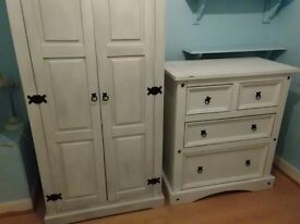 Painted mexican pine wardrobe and chest of drawers