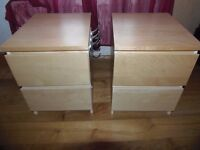 2 X IKEA MALM 2 DRAWER BEDSIDE CABINETS