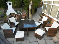 Brand New Rattan Garden Furniture Cube Set Table and 4 Chairs 4 stools in Mixed Brown or Black
