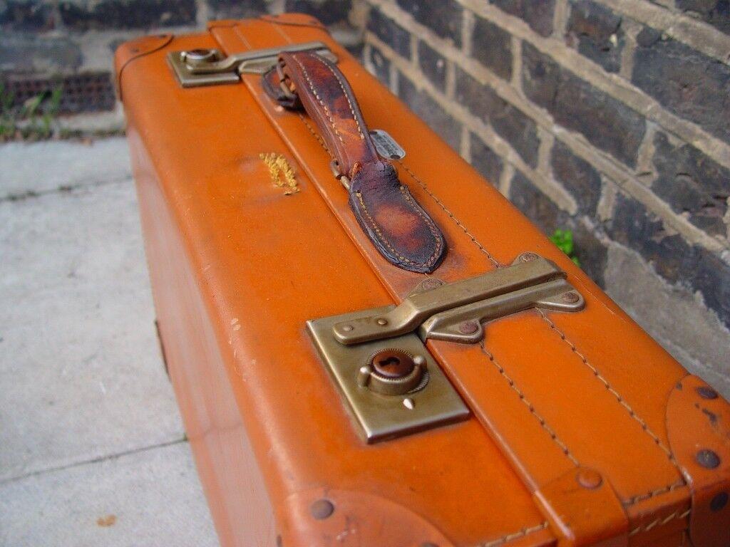 FREE DELIVERY Vintage Leather Suitcase Mid Century Retro S