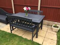 Refurbished garden furniture large table & 2x benches 6 seater can deliver