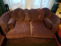 3 & 2 seater purple couch £200 but will Consider offers