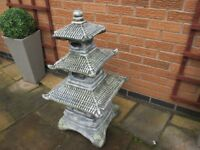 DECORATIVE JAPANESE 3 X TIER STONE PAGODA GARDEN FEATURE