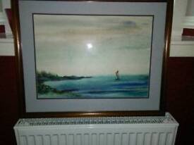 LARGE WATER COLOUR OF SAILING BOAT, OUT IN THE OCEAN,