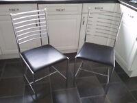 Kitchen chairs black/chrome