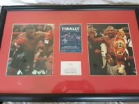 Original signed and framed mike tyson vs evander holyfield 1999 picture , 2 signatures