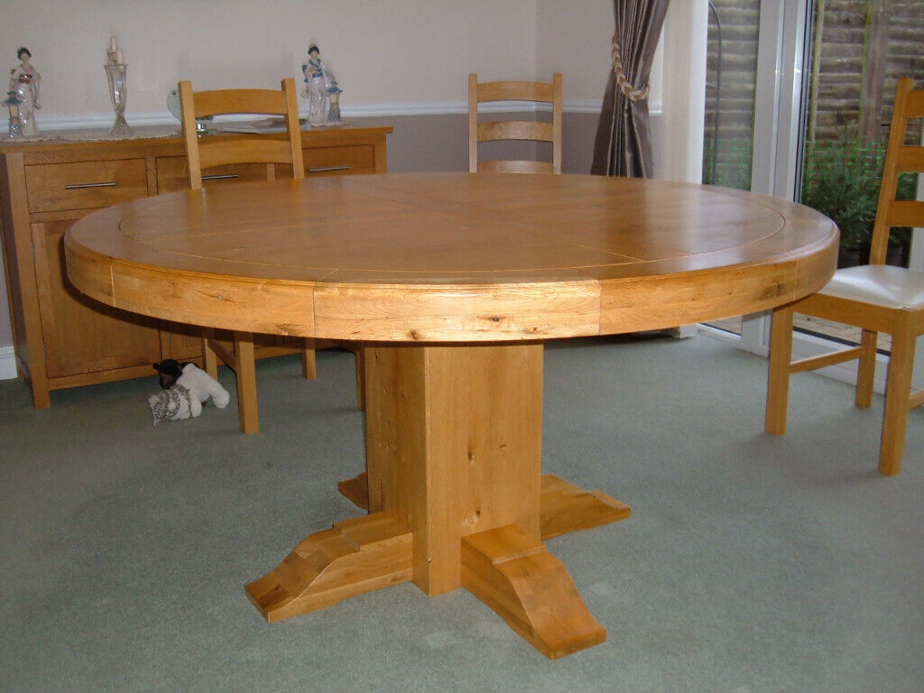 Solid Real Oak Round Dining Table 6 Chairs Rarely Used In Pristine