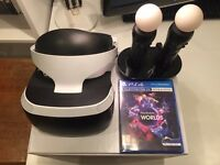 Playstation VR / PSVR, VR worlds game AND 2x move controllers and official charge stand