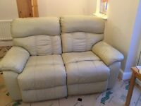 Three seater and two seater cream leather setee