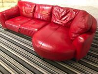 Amazing red leather corner sofa