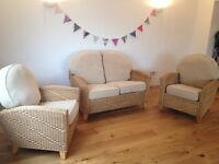3 Piece wicker suite - 2 seater + 2 armchairs