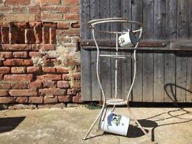 Vintage Primitive WASH STAND Metal Bowl Outdoor Cleaning Garden Decor Bird Bath