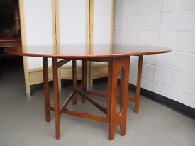 VINTAGE TEAK DOUBLE GATE LEG DROP LEAF DINING TABLE FREE DELIVERY