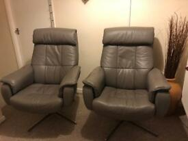 Grey leather recline swivel chairs