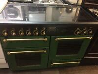 Black & green rang master 110cm gas cooker grill & double ovens with guarantee