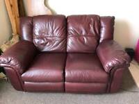 2 seater leather reclining sofa