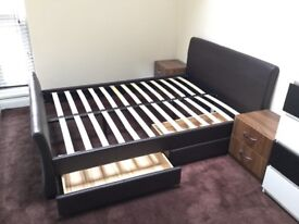 Double bed with drawers + mattress