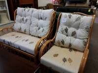 Cane settee and chair