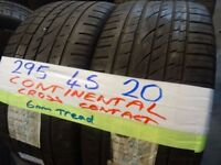 MATCHING PAIR 295 45 20 CONTINENTAL CROSS CONTACTS 6mm TREAD £100 PAIR SUP & fittd 7dys (punct £8)