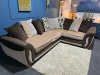 DFS Brown and beige fabric corner sofa