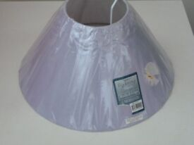 Rolled edge coolie lightshade in lilac (new, in wrapping)