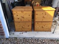 Two 2-drawer pine filing cabinets