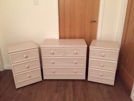 3 drawer chest and 2 x matching 3 drawer bedside chests