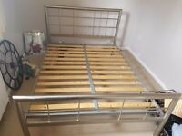 Double metal bed frame flat slats good working order