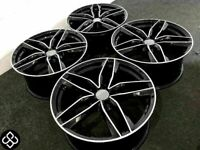 """NEW 18"""" 19"""" 20"""" AUDI RS6 STYLE ALLOY WHEELS- 5 x 112 - GLOSS BLACK/DIAMOND CUT- FREE DELIVERY"""