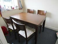 Tidy kitchen table and 4 chairs
