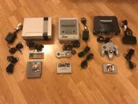 Nintendo NES,SNES,N64 consoles, with games. Retro gaming job lot