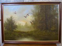 "Original Oil Painting on Canvass 36 x 25"" Mallard Ducks Flight Woodlands Signed L Benson"