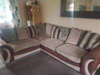 Large corner sofa, swivel cuddle chair and footstool