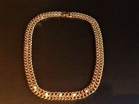 Bright Gold Chunky Flat Oval Chain Link Necklace Flat Chain Link with Clear Stones