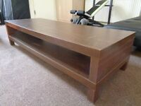 Long brown wooden lounge table with storage