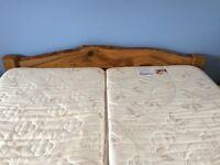 REDUCED Lovely purpose made solid Scottish Oak 190cm wide 200cm long (2 single mattresses together)